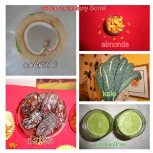 coconut, dates, almond, kale, smoothie