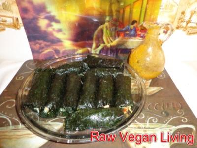 nori rolls with mango garlic dressing