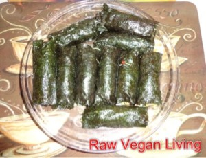 Nori Rolls With Sprouts, Mango Garlic Dressing