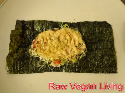 nori rolls with cheese, sprouts and noodles