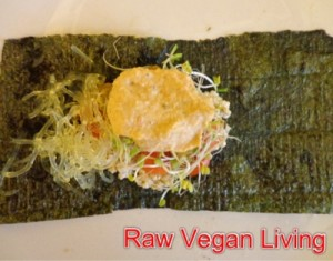nori rolls with cheese and noodles