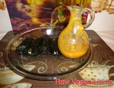 nori rolls with mango dressing