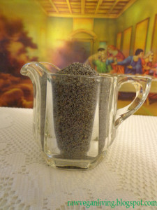 glass of poppy seeds