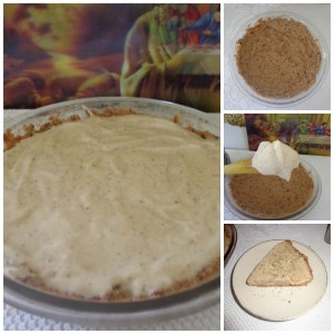 banana coconut poppy seed ice cream pie collage