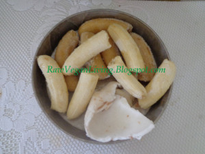 frozen bananas and coconut
