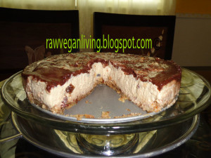 inside view of tofu dates swirl cheesecake