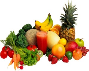fresh raw fruits & veggies