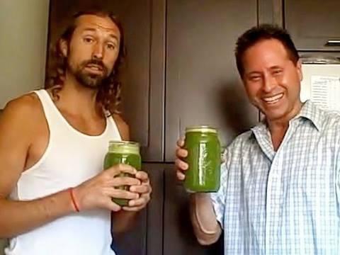 Dan McDonald and Lou Corona drinking the lemon ginger blast