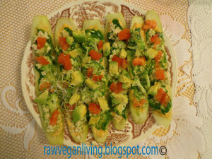 raw cucumber pizza bites