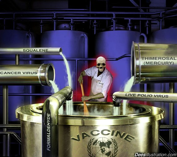 skeleton goony stirring up toxic ingredients for vaccines