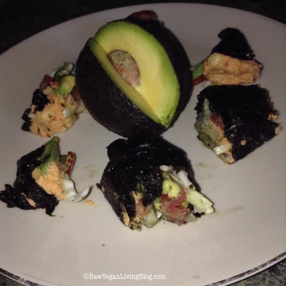 Raw Food Recipe: Sprouted Garbanzo Bean Hummus Nori Wrap