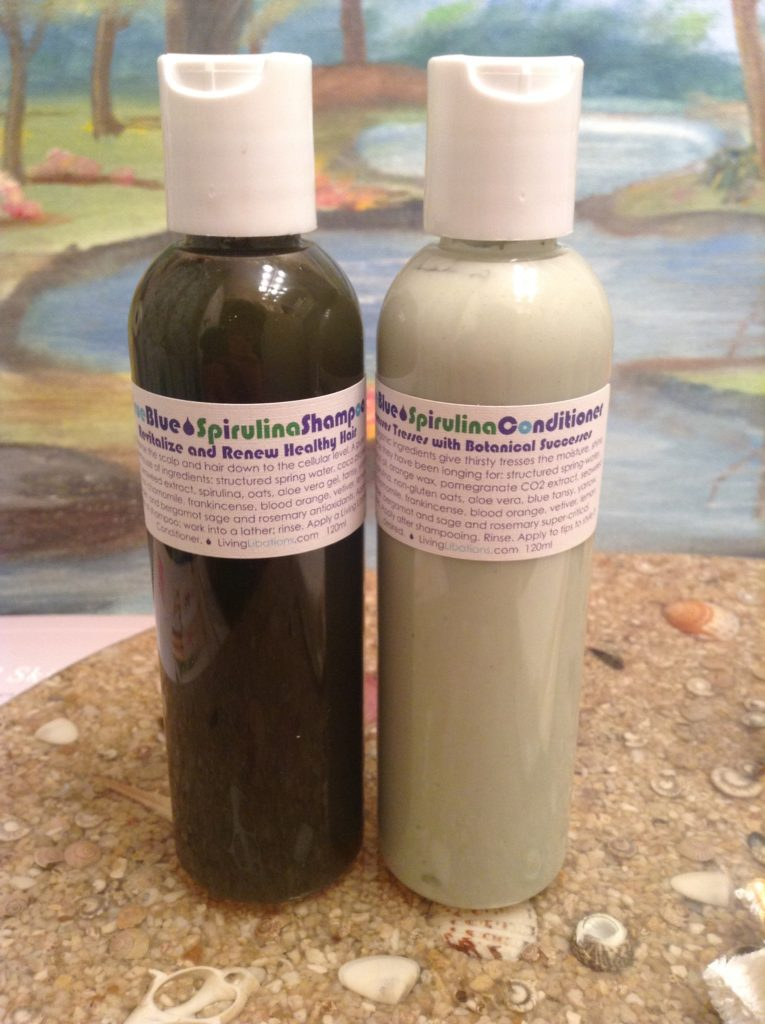 living libations true blue spirulina shampoo and conditioner